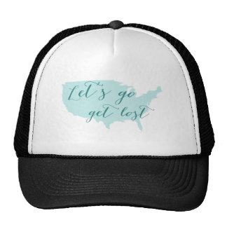 Let s go get lost word art with USA map Mesh Hats