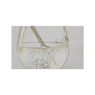 Let´s have a drink - faux gold pencil sketch canvas print