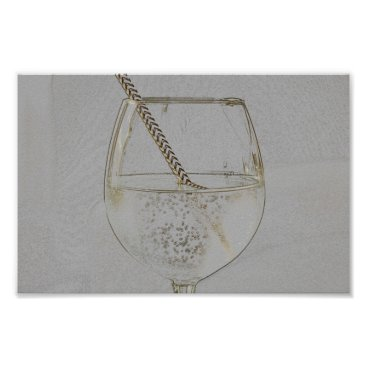 Art Themed Let´s have a drink - faux gold pencil sketch poster