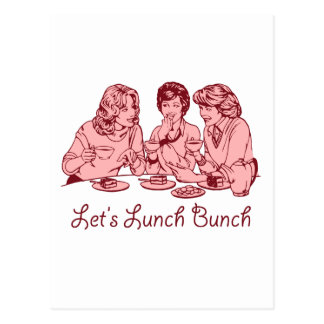 Let's Lunch Bunch 50's retro graphic Postcard