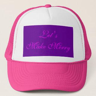 """Let 's Make Merry"" Purple/Pink Xmas Design Trucker Hat"