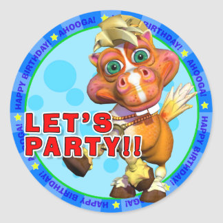 LET S PARTY Birthday Stickers with Bucky