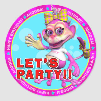 LET S PARTY Birthday Stickers with Pinky