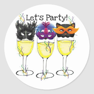 LET S PARTY CARNIVAL OR HALLOWEEN MASK WINE GLASS ROUND STICKERS