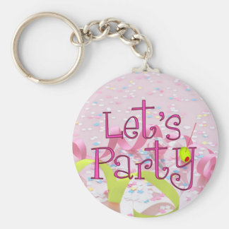 LET,S PARTY CUP by SHARON SHARPE Basic Round Button Keychain