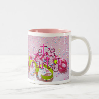 LET,S PARTY CUP by SHARON SHARPE Two-Tone Coffee Mug