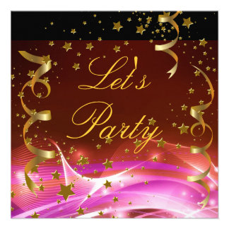 Let s Party Invitation Gold Stars Streamers Pink Custom Invites