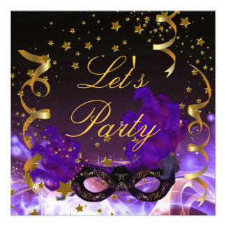Let s Party Invitation Purple Gold Stars Mask Personalized Announcements