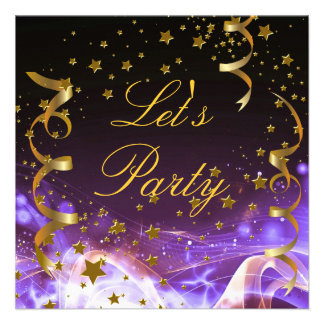 Let s Party Invitation Purple Gold Stars Streamers Custom Invitations