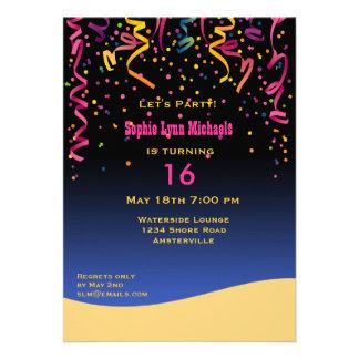 Let s Party Sweet 16 Birthday Invitation