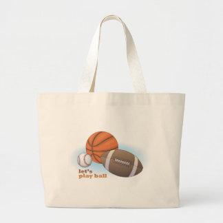 Let s play ball baseball basketball football tote bag