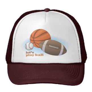 Let s play ball baseball basketball football mesh hats