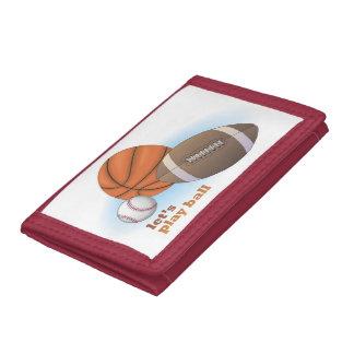 Let s play ball baseball basketball football tri-fold wallet