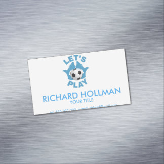 Let's play soccer magnetic business card