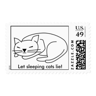 Let sleeping cats lie postage stamp