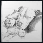 """Let Sleeping Dogs Lie Cloth Napkin<br><div class=""""desc"""">Adorable little dog sleeping with &quot;her baby.&quot; This version rendered in grayscale tones. A combination of 2 individual drawings,  digitally merged into one concept. Keywords: puppy,  labrador,  pit bull,  Pearl,  teddy bear,  sleeping dog,  american staffordshire terrier,  retriever,  dog,  sepia,  monochromatic,  sketch,  drawing</div>"""