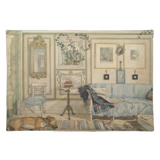 Let Sleeping Dogs Lie Swedish Watercolor Cloth Placemat