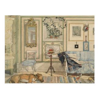 Let Sleeping Dogs Lie Swedish Watercolor Postcard