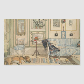 Let Sleeping Dogs Lie Swedish Watercolor Rectangular Sticker