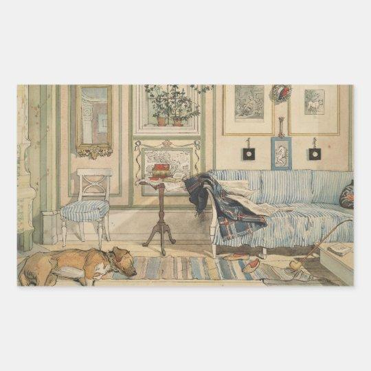 Let Sleeping Dogs Lie Swedish Watercolor Rectangular Sticker