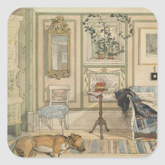 Let Sleeping Dogs Lie Swedish Watercolor Square Sticker