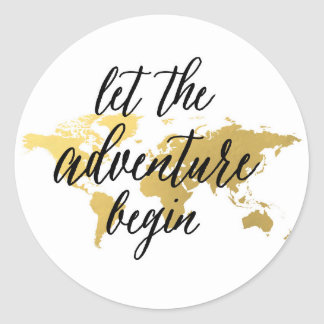 Let the adventure begin gold and white sticker