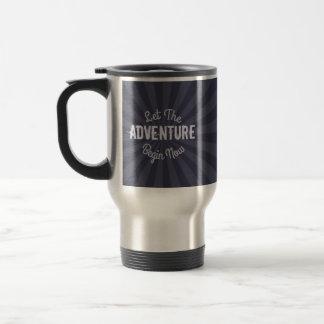 Let The Adventure Begin Now on Blue Starburst Travel Mug