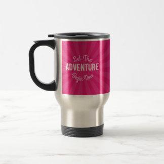 Let The Adventure Begin Now on Pink Starburst Travel Mug