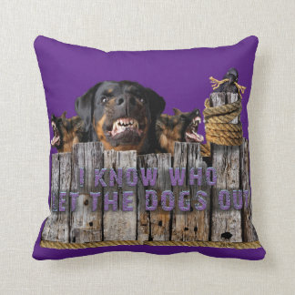 Let the dogs out! throw pillow