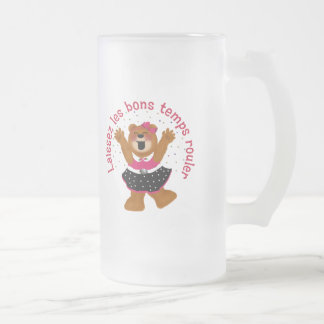 Let The Good Times Roll Teddy Bear Frosted Glass Beer Mug