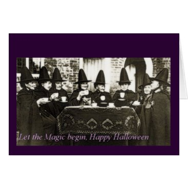 Halloween Themed Let The Magic Begin Happy Halloween Witches Card