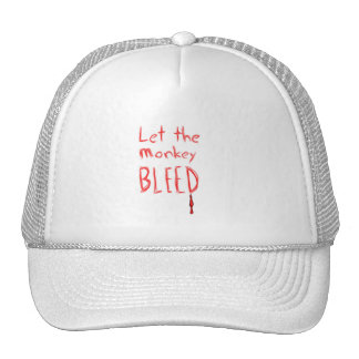 Let the Monkey Bleed, in red hand drawn text Trucker Hat