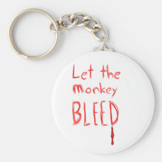 Let the Monkey Bleed, in red hand drawn text Keychain