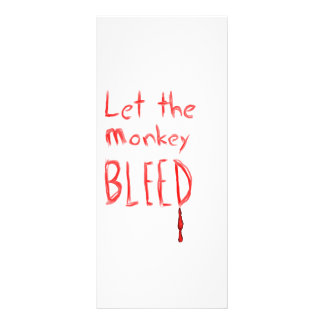 Let the Monkey Bleed, in red hand drawn text Personalized Rack Card