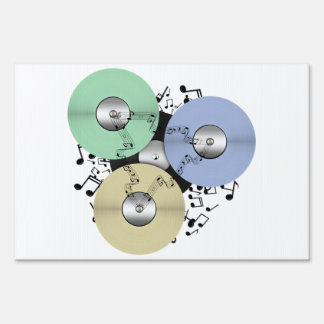 Let the Music Flow (Reel to Reel & Vinyl Record) Lawn Sign