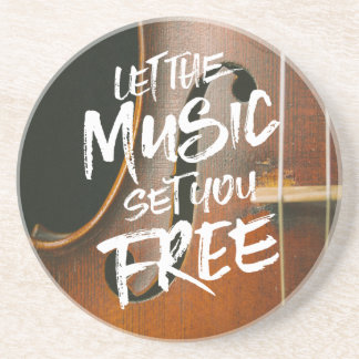 Let the Music Set You Free Musician Photo Template Drink Coaster