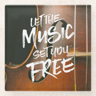 Let the Music Set You Free Musician Photo Template Glass Coaster