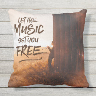Let the Music Set You Free Musician Photo Template Outdoor Pillow