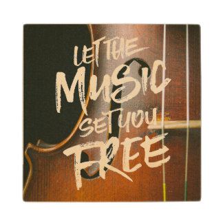 Let the Music Set You Free Musician Photo Template Wooden Coaster