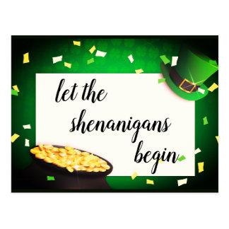 Let the Shenanigans Begin St Patricks Invitatation Postcard