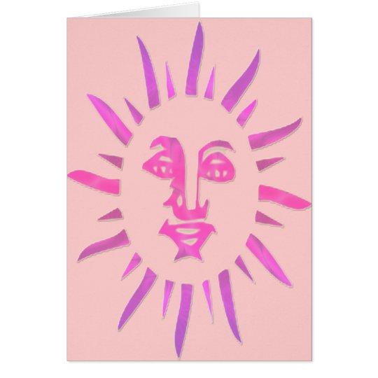 *Let The Sunshine* Pink Sun Face Design Card