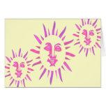 *Let The Sunshine* Pink Sun Face Design Greeting Card