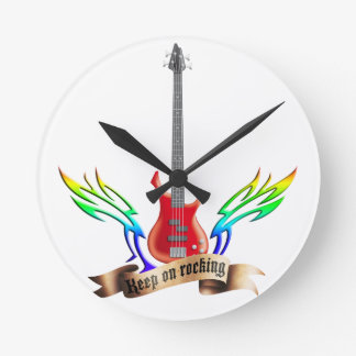 let the world rock electric bass guitar round clock