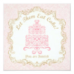 """Let Them Eat Cake Birthday Party 5.25"""" Square Invitation Card"""