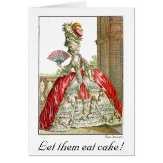 Let them eat cake Franch lady & fan Card