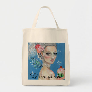 Let them eat cake grocery tote bag