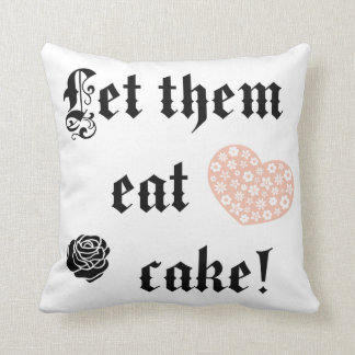 Let them eat cake pink heart pillow