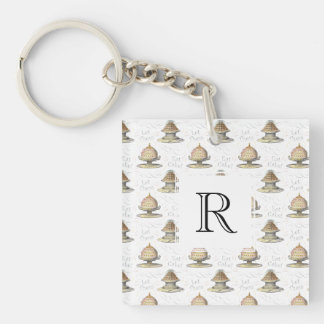 Let Them Eat Cake Vintage French Marie Antoinette Double-Sided Square Acrylic Keychain