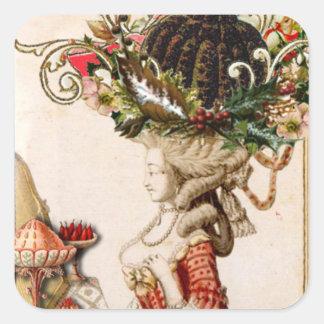 Let them eat pudding! Marie Antoinette Christmas Square Sticker