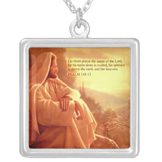 Let them Praise the name of the Lord....Psalm:148 Square Pendant Necklace